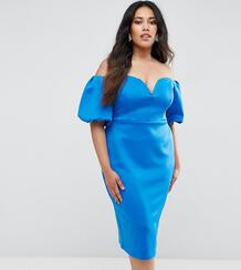 Платье миди с открытыми плечами и пышными рукавами ASOS CURVE - Синий 1077855