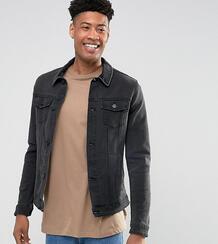 Черная приталенная джинсовая куртка с вельветовым воротником ASOS DESI ASOS DESIGN 1069668