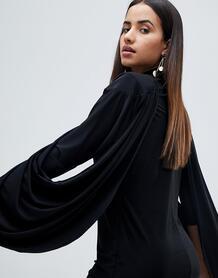 Драпированное платье с подплечниками ASOS - Черный ASOS DESIGN 1070745