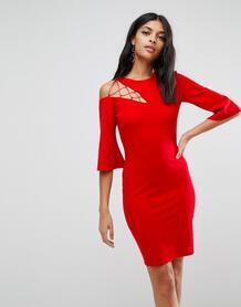 Свободное платье с рукавами клеш ASOS - Красный ASOS DESIGN 1064912