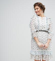 Короткое приталенное платье в цветочек с поясом Truly You - Мульти 1065636