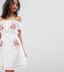 Платье с открытыми плечами и вышивкой в стиле фолк Glamorous Tall 1014419