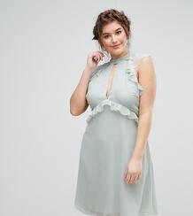 Короткое приталенное платье с рукавами-оборками Truly You - Зеленый 1065645