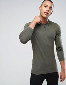 Обтягивающая футболка-поло цвета хаки ASOS - Зеленый 961859