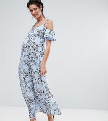 Платье макси с цветочным принтом и открытыми плечами Queen Bee - Синий 1034796