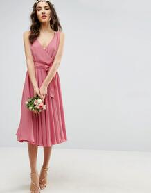 Платье миди с бантом ASOS DESIGN - Бежевый 991737