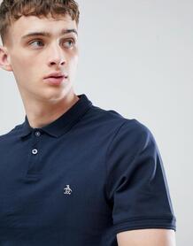 Темно-синяя облегающая футболка-поло из пике с логотипом Original Peng Original Penguin 958825