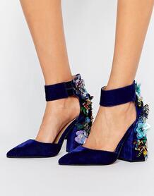 Декорированные туфли на каблуке ASOS POPSTAR - Синий ASOS DESIGN 978457