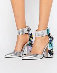Декорированные туфли на каблуке ASOS POPSTAR - Серебряный ASOS DESIGN 978455