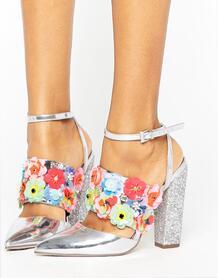 Туфли на каблуке с отделкой ASOS PAPAYA - Серебряный ASOS DESIGN 938487