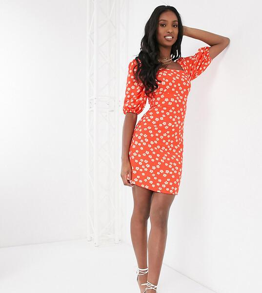 Платье мини с квадратным вырезом и принтом -Красный Glamorous Tall 10211400