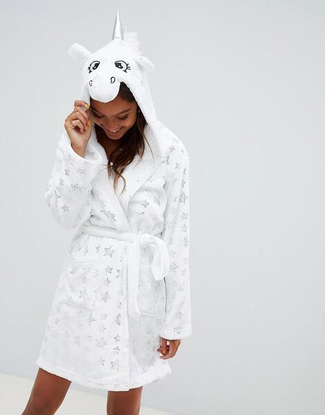 Халат с капюшоном-единорогом Loungeable - Белый