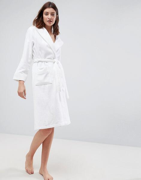 Махровый халат в полоску с капюшоном ASOS Premium - Белый