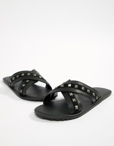 Черные сандалии с заклепками ASOS DESIGN - Черный