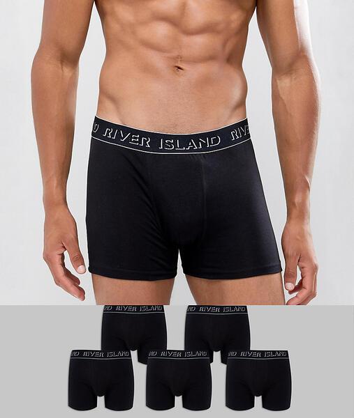 5 черных боксеров-брифов River Island - Черный