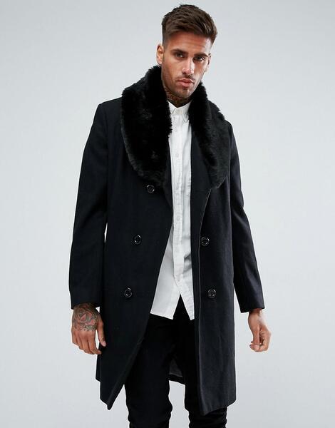 Черное двубортное пальто с добавлением шерсти и искусственным мехом bo