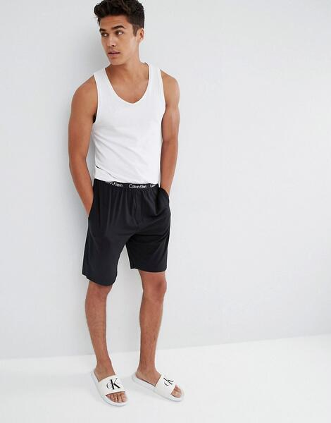 Тканые шорты для дома классического кроя Calvin Klein - Черный