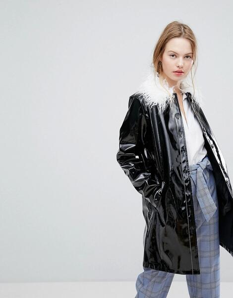 Блестящая куртка с меховым воротником Plain Studios - Черный