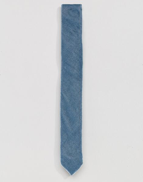 Синий велюровый галстук ASOS - Синий