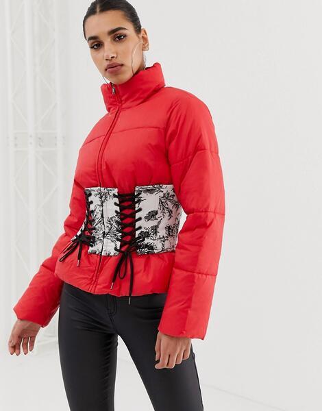 Дутая куртка с принтом корсета ASOS - Красный