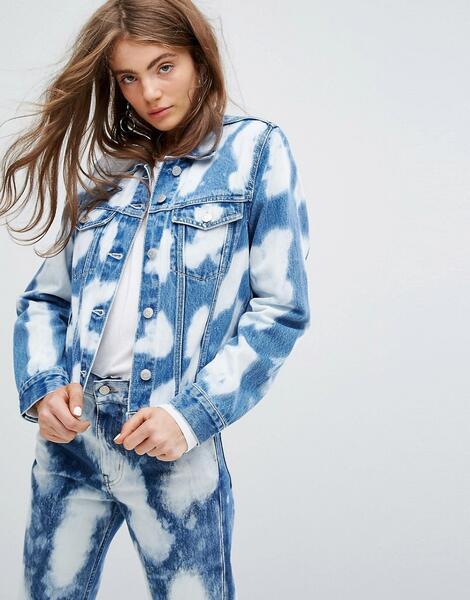 Выбеленная джинсовая куртка Weekday Press Collection - Синий