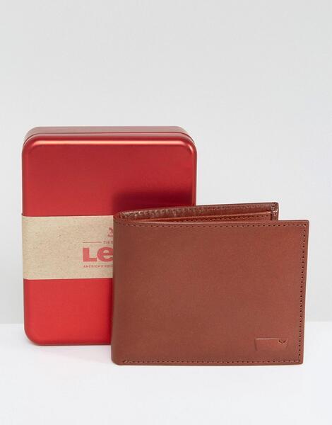 Коричневый кожаный бумажник Levi's - Черный
