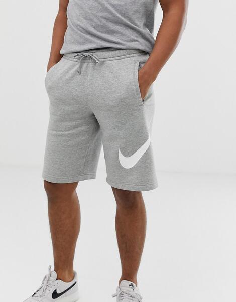 Серые трикотажные шорты с крупным логотипом Nike 843520-063 - Серый
