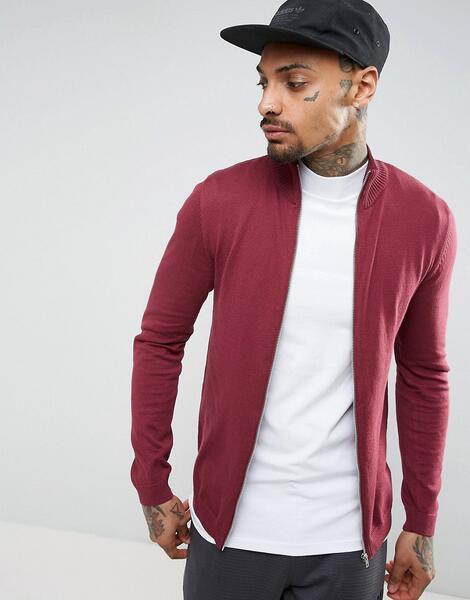 Бордовая хлопковая спортивная куртка ASOS - Красный