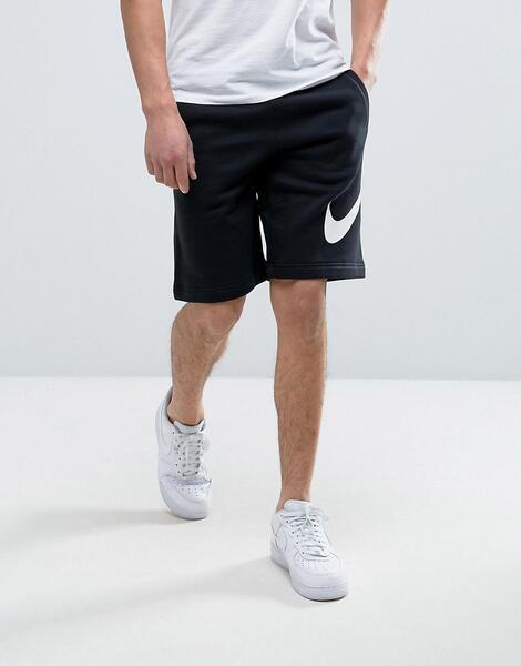 Черные трикотажные шорты с большим логотипом Nike 843520-010 - Черный