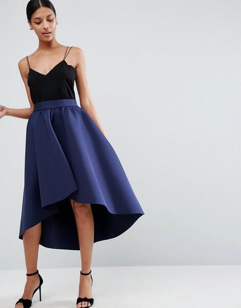 Юбка для выпускного с асимметричной кромкой ASOS Premium - Темно-синий