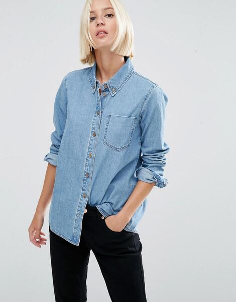 Светлая джинсовая рубашка ASOS DESIGN - Синий