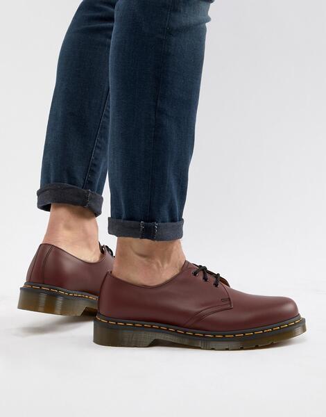 Красные туфли с 3 парами люверсов Dr.Martens original 11838600