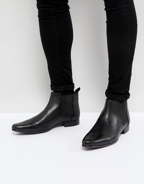 Кожаные ботинки ASOS Chelsea - Черный