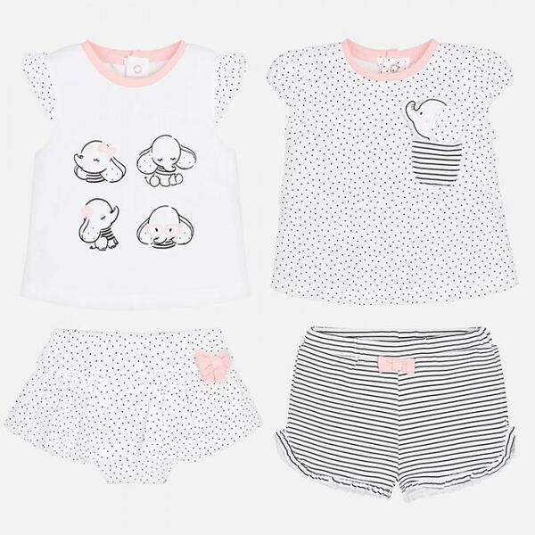 Комплект одежды для девочки 2 футболки и 2 шорт 1606